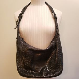 Brighton Black Snake Skin Shoulder Bag